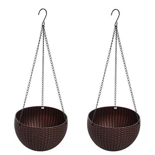 cestas de plantador colgantes, maceta colgante con drenaje auto riego interior exterior...