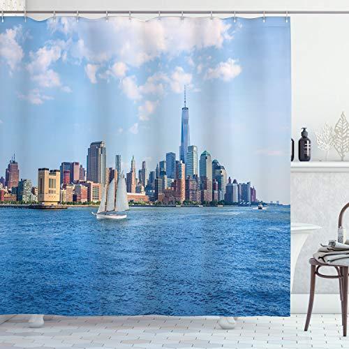 ABAKUHAUS New York City Duschvorhang, Manhattan Skyline, mit 12 Ringe Set Wasserdicht Stielvoll Modern Farbfest & Schimmel Resistent, 175x180 cm, Blau grau