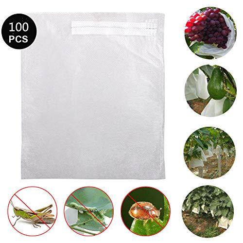 JYCRA Lot de 100 sacs de protection pour fruits - 20,3 x 17,8 cm - Tissu non tissé - Barrière contre les insectes et les oiseaux