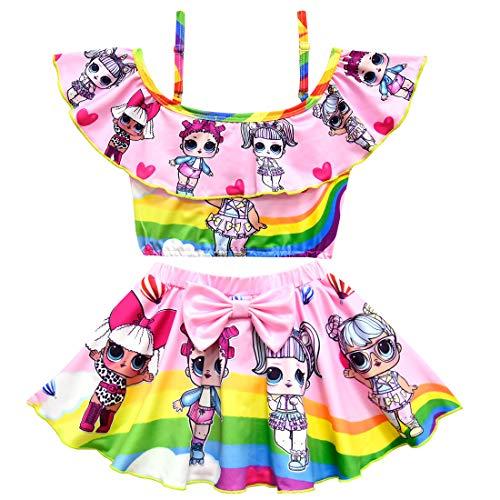 Baby Girls Rainbow Swimsuit Two Pieces Bikini Set Ruffle Swimwear Bathing Suits Size 120