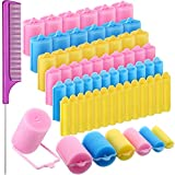56 Pieces Foam Sponge Hair Rollers Soft Sleeping Hair Curler Assorted Sizes Flexible Hair Styling Sponge Curler with Stainless Steel Rat Tail Comb Pintail Comb for Hairdressing Styling (Mixed Color)