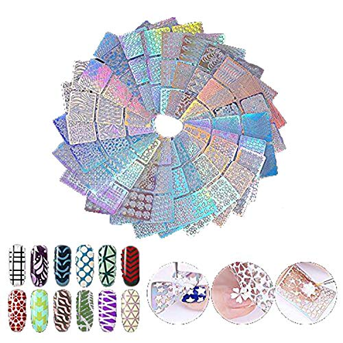 Lot de 144 pochoirs pour ongles - 24 feuilles - 72 motifs différents - Avec 6 éponges - Symbole des ongles