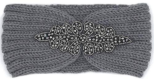 Fashion YOU WANT Damen Stirnband mit Schleifenmuster geflochten mit Perlen Glitzer oder Uni ideal für den Herbst/Winter für warme Ohren Trend 2019 (S13) (S10)