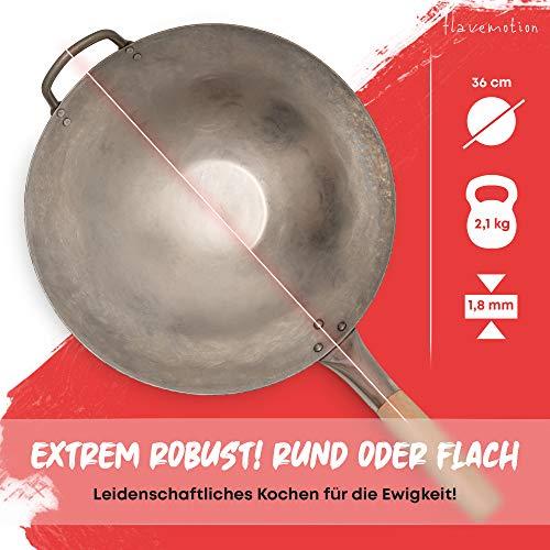 Flavemotion wok para inducción, horno eléctrico (base plana, 36 cm) martillado a mano, de acero al carbono resistente a los arañazos con mango de madera, incluye anillo para colocar