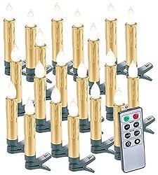 Lunartec Christbaumkerzen: 20er-Set LED-Weihnachtsbaumkerzen mit Fernbedienung und Timer, Gold (Kabellose Weihnachtskerzen)