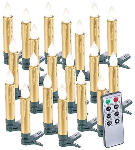Lunartec Weihnachtskerzen: 20er-Set LED-Weihnachtsbaumkerzen mit Fernbedienung und Timer, Gold (Kabellose Weihnachtsbaumkerzen)