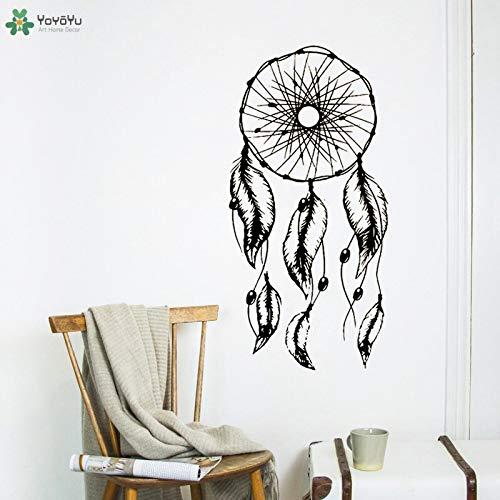 fancjj Etiqueta de la Pared Pluma Hermosa Dreamcatcher Etiqueta de La Pared Dormitorio Cabecero Interior Extraíble Decoración Arte Moderno Mural 57x116cm