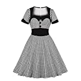 Wellwits Women's Plaid Patchwork Office Lady Work Vintage Swing Dress Black 2XL
