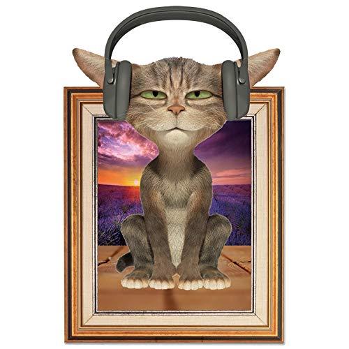 Qwzh 3D-Bilderrahmen Aufkleber Wandaufkleber Katze mit Kopfhörer Aufkleber verziert Startseite wandaufkleber