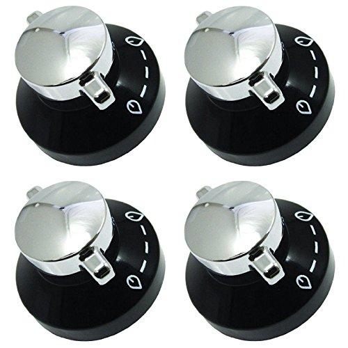 véritable Cuisinière à gaz plaque de cuisson four cuisinière boutons de contrôle de flamme Interrupteur (Lot de 4, noir/argent)