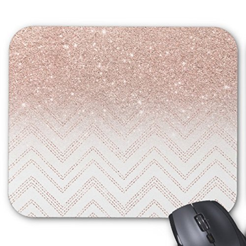 UOOPOO Mousepad Chic Faux Rose Gold Glitter Ombre Modern Chevron Mouse pad Rectangle Non-Slip Rubber Mousepad Gaming Mouse Pad Stitched Edges 8.2 x 10.2 x 0.12 Inch