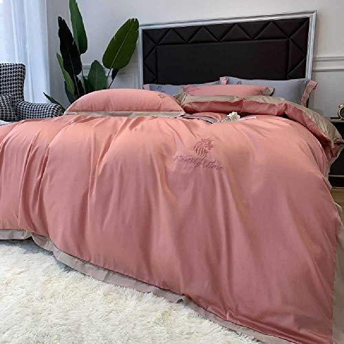 European-style Ice Silk Four-piece Set, Summer Naked Sleeping Silk, Summer Bedding, Sheet, Quilt Cover, Silky Spring 1.2m bed three-piece set/Fairy Peach Powder