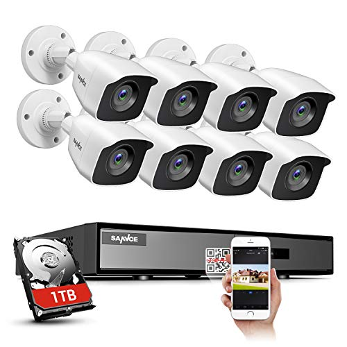 SANNCE 8CH HD-TVI Security Camera System, 1080N CCTV DVR with 1TB Hard Drive and (8) 720P Outdoor Day/Night Surveillance Cameras, Easy Remote Access Motion Detection Video Security System