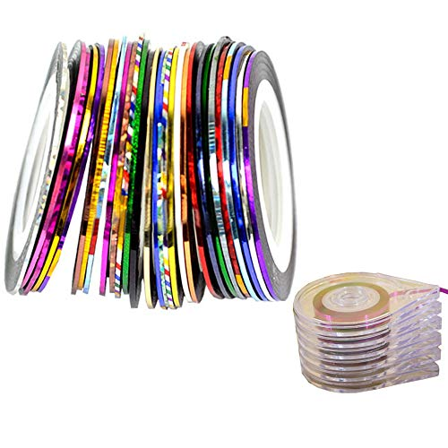 Nail Art Stripes Tape Zierstreifen Packung mit 32 Rollen Striping Tape in verschiedenen Farben+ Sticker Etui Halter Nail Tools - Transparent(32 Rollen + 6 Stück Werkzeuge)
