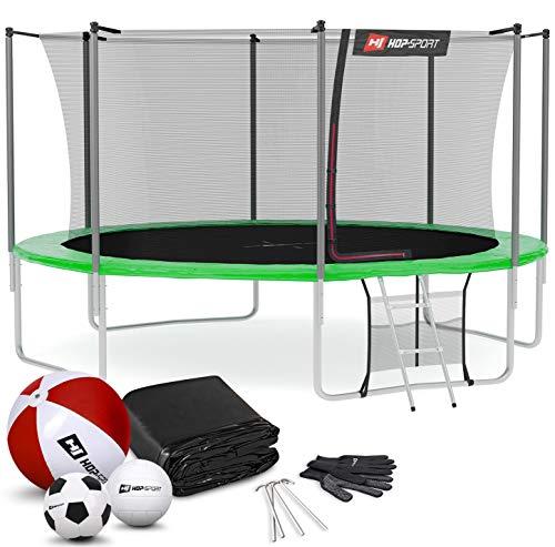 Hop-Sport Outdoor Trampolin Ø 244 cm – Gartentrampolin Komplettset mit stabilen U-Beinen, innenliegendem Netz, Sprungtuch und Leiter sowie Extra-Zubehör, grün