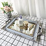 YANIZU Decorative Mirror Tray, Floral Vanity Organizer for Makeup, Jewelry, Perfume, Vintage Rectangular Display and Serving Tray for Dresser, Counter and Coffee Table,, 9.5
