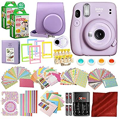 FUJIFILM INSTAX Mini 11 Instant Film Camera (Lilac Purple) w/ 168 Piece Accessory Bundle x2 FUJIFILM INSTAX Mini Instant Film (40 Exposures), Battery + Charger, Camera Case, Strap, Selfie Lens & More from PS