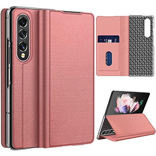 Vizvera Funda para Samsung Galaxy Z Fold 3 5G, funda plegable con ranura para tarjetas y billetera, con función atril, antigolpes, fina, color rosa