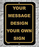 BA IMAGE Personalized Custom Black 015 Aluminum Metal Sign with Your Message! (9x12 Black w/ Antique, Vertical)
