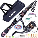 PLUSINNO Fishing Rod and Reel Combos, Toray 24-Ton Carbon Matrix Telescopic Fishing Rod Pole, 12 +1 Shielded Bearings Stainless Steel BB Spinning Reel