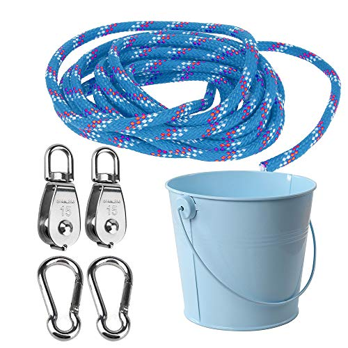 FUQUN Gardening Tool Set ,Pulley with Bucket Cable, for Children Kids is the Perfect Accessory for the Tree House, Playhouse, Climbing Frame (Blue)