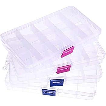 iplusmile パーツケース パーツ入れ 収納ボックス 小物収納 透明ボックスト(2ピースブルーボタンボックス+ 2ピースレッドボタンボックス)