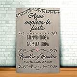 Enkolor/Cartel Boda madera/Personalizado/Artesanal/Bienvenidos/Blanco/40X60cm.