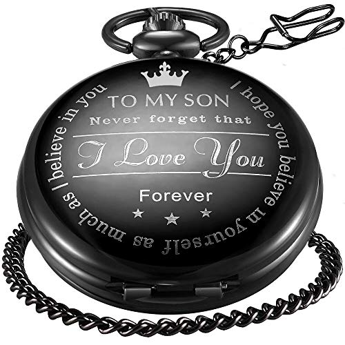 LYMFHCH Black Personalized Pocket Watch Gifts for Son Engraved Vintage Roman Numerals Scale Quartz Pocket Watch with Chain
