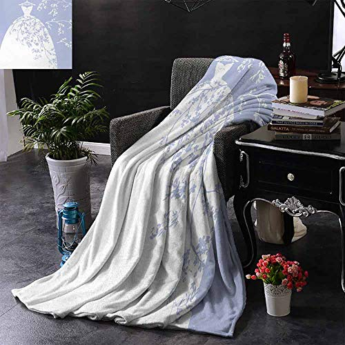 GGACEN Reisdeken Bruidsjurk met Bloemen Swirl Details Afbeelding Artowrk Print Kampeerdeken - een deken gooien