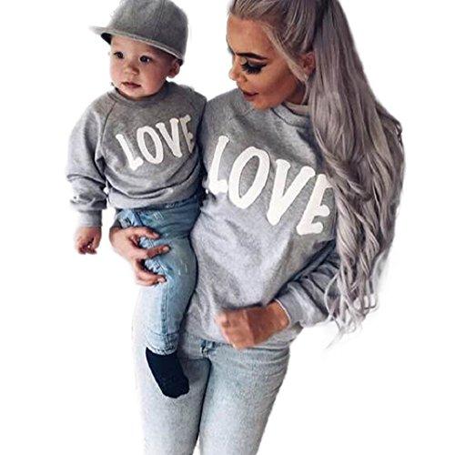 PINEsong Mutter und Kind Lange Ärmel Buchstaben Bluse Tops T-Shirt Familie Kleider Outfits (XL, Weiß(Mutter))