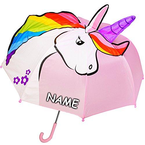 alles-meine.de GmbH 3-D Effekt _ Regenschirm -  süßes Einhorn - rosa  - incl. Name - Kinderschirm Ø 74 cm / mit Klemmschutz - Kinder Stockschirm mit Griff - Regenschirme - für ..