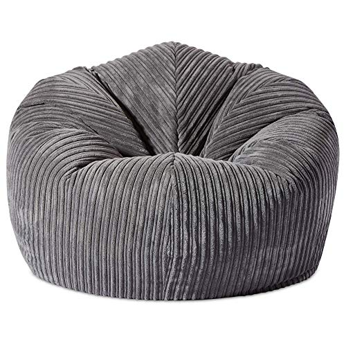 Gilda GIANT Adult Beanbag Soft & Comfy Gaming Jumbo Corduroy Bean Chair Filled With Virgin Beans Beautiful Home Accessory Moulds To Shape Delivered Filled (90x90cm,Grey)