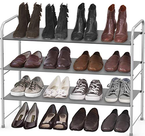 Simple Houseware 3-Tier Shoe Rack Storage Organizer, Grey