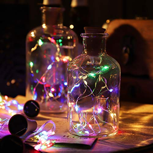 Uonlytech 6pcs Solar Copper Wire Light String 15-LEDs Lamp String Chic Wine Bottle Decorative Light for Home Party Festival (Random Color)