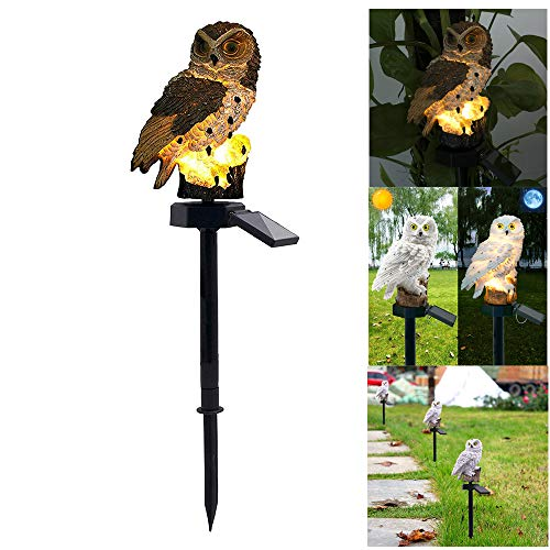 ALLOMN Solar Rasen Lampe, Outdoor Solar Licht Garten Dekoration Lampe Wasserdichte Weg Rasen Garten Garten Lampen Eule Design (Grau)