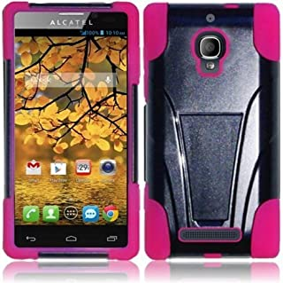 For Alcatel One Touch Fierce 7024W Cover Case (TSTAND Hybrid Black/Pink)