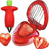 Strawberry Huller Stem Remover and Strawberry Slicer Set,Potatoes Pineapples Carrots Tomato Corer Slicer Cherry Pitter,Fruit Picker Stalks Tools,Stainless Steel Blade Kitchen Tools and Gadgets