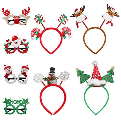 TOYANDONA 8 unidades de gafas y diademas brillantes de Navidad para fiestas de Navidad, decoración de disfraces, decoración de Navidad, accesorios de fotos, regalos