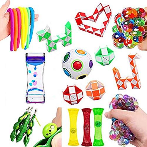 Sensory Fidget Toy Set, Fidget Sensory Toy Set, Stressabbau-Spielzeugset, Premium Langlebiges Stressabbau-Spielzeug für Kinder Erwachsene, Pop It Fidget Toy, Einfache Dimple Fidget Toy Set Box