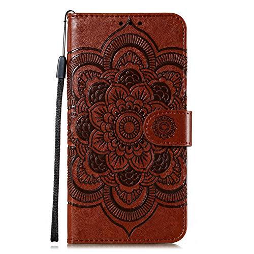 Lomogo Galaxy A51 Hülle Leder, Schutzhülle Brieftasche mit Kartenfach Klappbar Magnetisch Stoßfest Handyhülle Case für Samsung Galaxy A51 - LOEBE030186 Braun