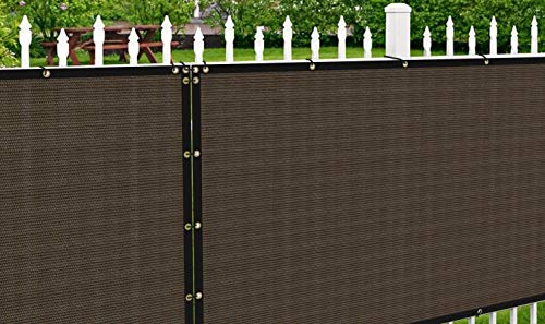 Patio Paradise 8' x 3' Brown Fence Privacy Screen, Commercial Outdoor Backyard Shade Windscreen Mesh Fabric with Brass Gromment 85% Blockage- 3 Years Warranty (Customized
