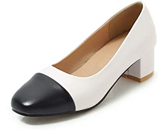 """Fashion Mid Pumps for Women Block 4cm/1.57"""" Heel Slip in Vegan Round Toe Synthetic Leather Two Tone Rubber Soft Sole Office Personalized Fashion Shoes High Heels (Color : White, Size : 34 EU)"""