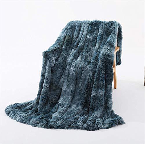 linyingdian Manta Suave y cálida y esponjosa de Microfibra, Nueva Manta de sofá mullida, Piel sintética cálida Elegante, acogedora con Mantas sólidas para Cama y sofá (Azul)