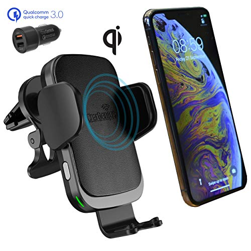 CharGenius Wireless Car Charger CD Slot Mount, Auto Clamping Phone Holder, Air Vent for iPhone 11 Pro XS Max XR X 8+, Android Samsung Galaxy S10+ S10 S9+ S9 S8+