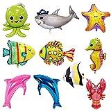 10Pcs Palloncini di pesce Palloncini di squalo Compleanno sotto il mare Palloncini Pesca Decorazioni di compleanno Decorazione di squalo per feste Baby Shark Sea Animal Balloons