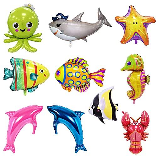 10 piezas Globos de peces Globos de tiburón Cumpleaños bajo el mar Globos Pesca Decoraciones de cumpleaños Bebé Tiburón Decoraciones para fiestas Globos de animales marinos