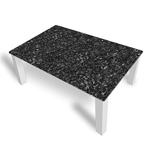 DekoGlas Couchtisch 'Granit Grau' Glastisch Beistelltisch für Wohnzimmer, Motiv Kaffee-Tisch 112x67 cm in Schwarz oder Weiß