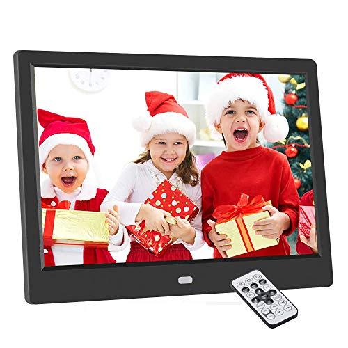 Cadre Photo numérique 10,1 Pouces, 1024x600 Cadre Photo Digital électronique à écran IPS, Prise en Charge SD/USB, Lecture multimode vidéo/Musique/Image 720P/1080P, avec Calendrier/Horloge