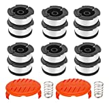 LesinaVac Weed Eater Spool Replacement Parts for Black and Decker AF-100 with String Trimmer Spool Refills Line 30ft 0.065', 12 Replacement Spools, 2 Spool Cap& Spring