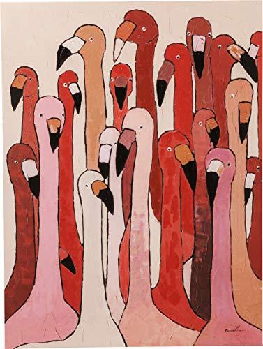 Kare WTD Touched Meeting Tableau sur toile avec châssis Motif flamant rose Rouge 120 x 90 x 4 cm 120 x 90 x 4 cm